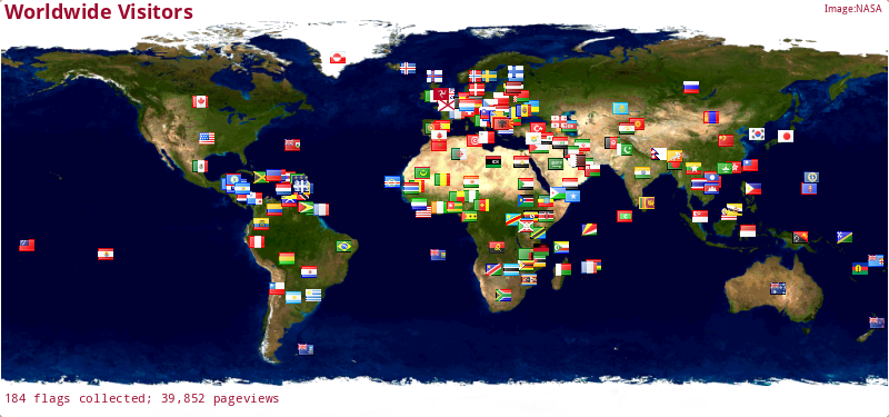 Click for Interactive map of the countries my visitors come from!